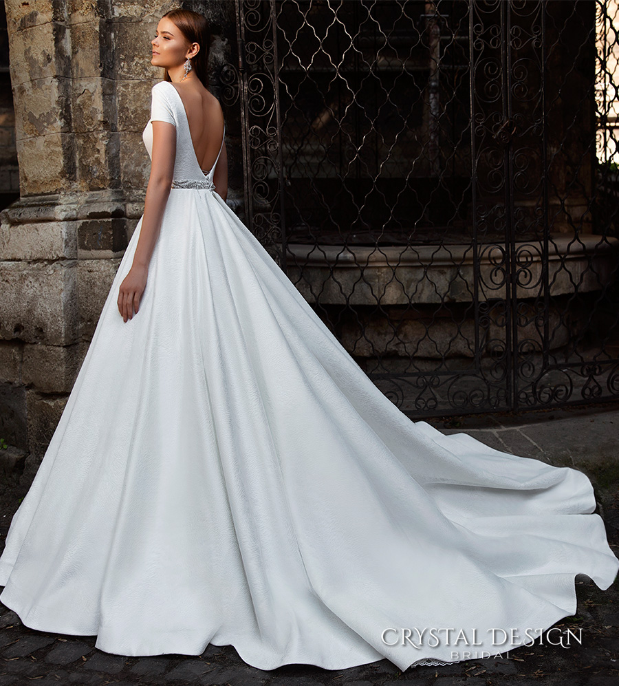 crystal design bridal 2016 short sleeves bateau neckline elegant chic simple a  line ball gown wedding dress open back chapel train (roma) bv