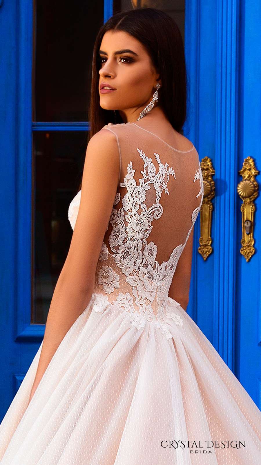 crystal design bridal 2016 sleeveless illusion round neckline v neck lace embellished bodice gorgeous princess ball gown wedding dress chapel train (avrora) zbv