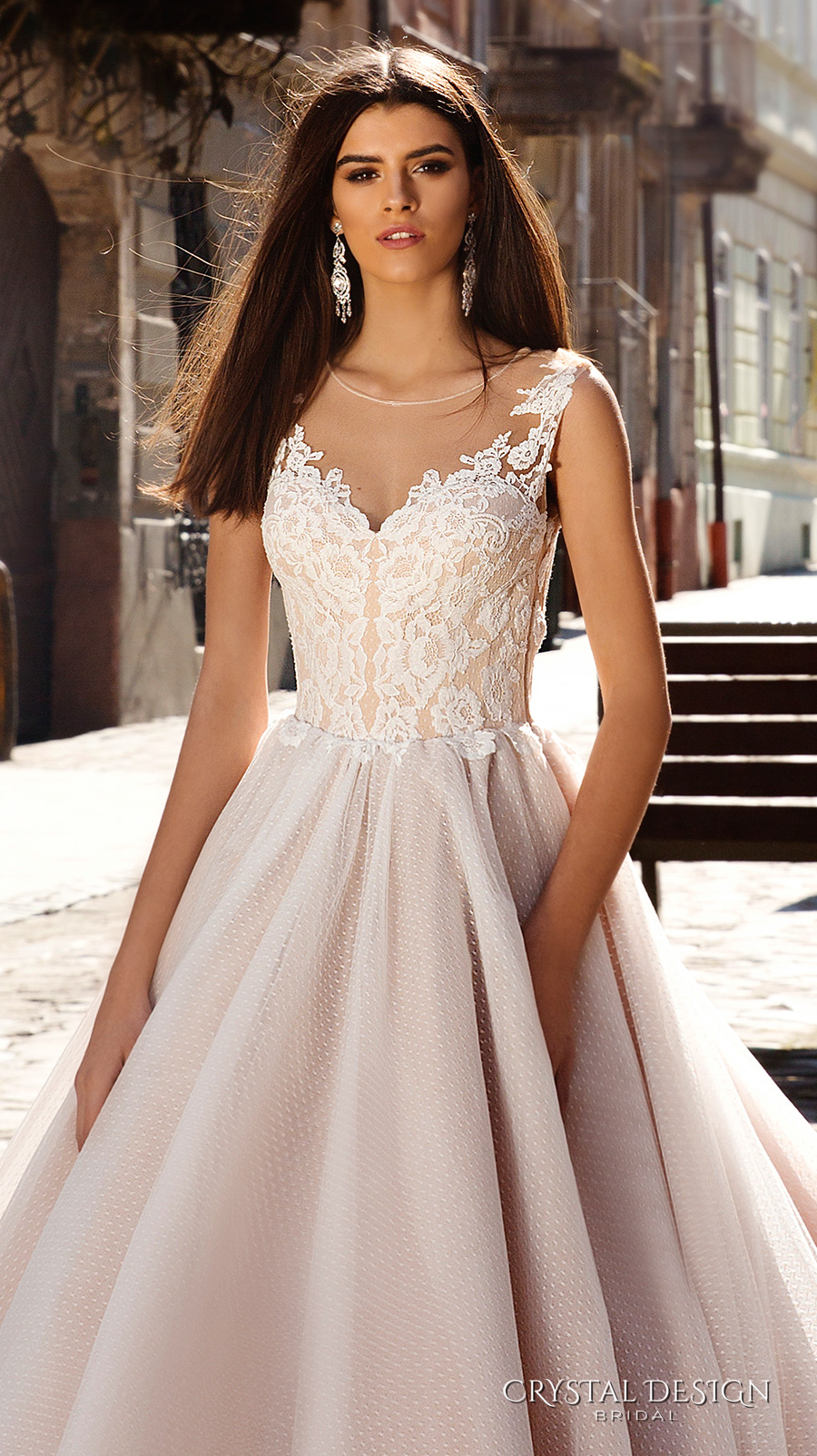 cc4686a971d crystal design bridal 2016 sleeveless illusion round neckline v neck lace  embellished bodice gorgeous princess ball