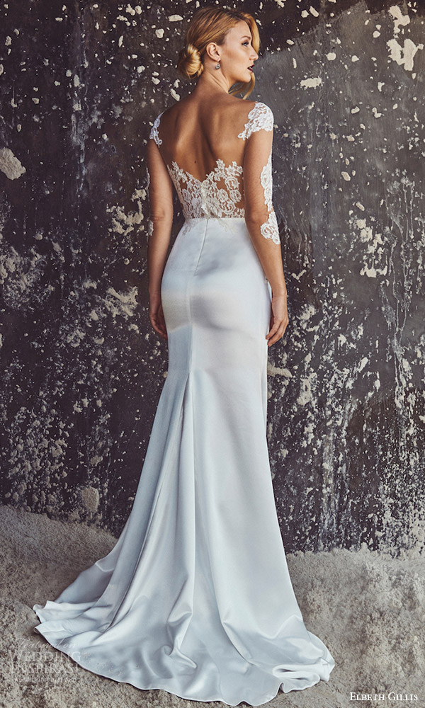 elbeth gillis bridal 2017 3 quarter sleeves illusion scoop neck sheath wedding dress (ellen) bv illusion vback train