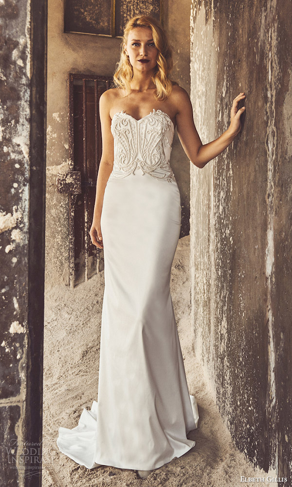 elbeth gillis bridal 2017 3 strapless sweetheart embellished bodice trumpet wedding dress (karen) mv
