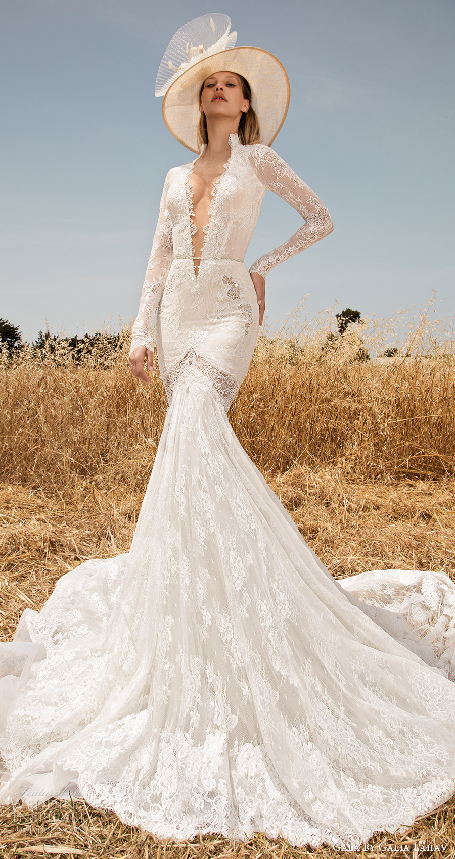 Gala Galia Lahav Spring 2017 Illusion Long Sleeves Deep Vneck Lace Mermaid Wedding Dress 701