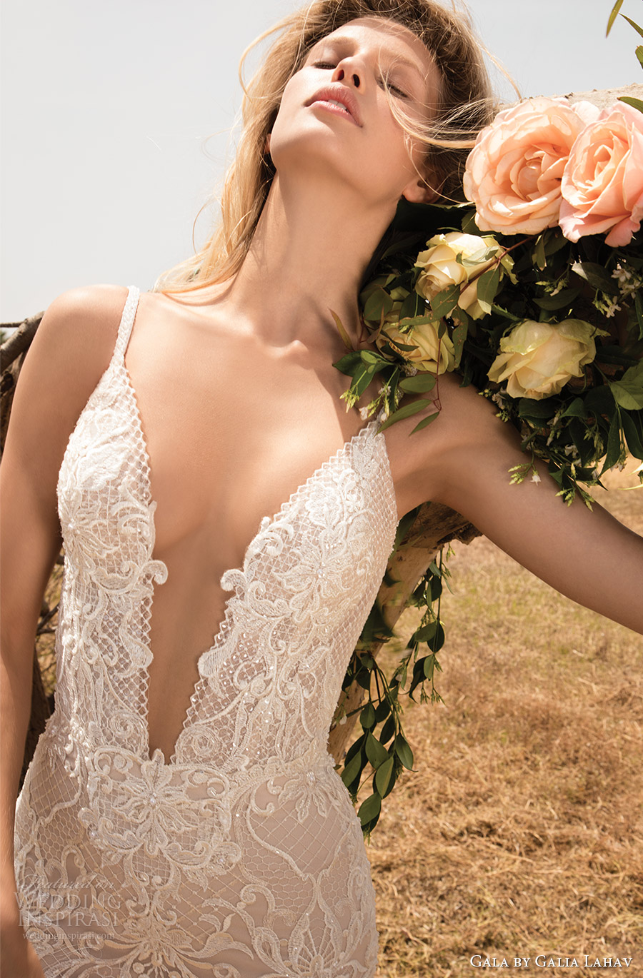 gala galia lahav spring 2017 sleeveless beaded straps deep vneck lace sheath wedding dress (708) zfv
