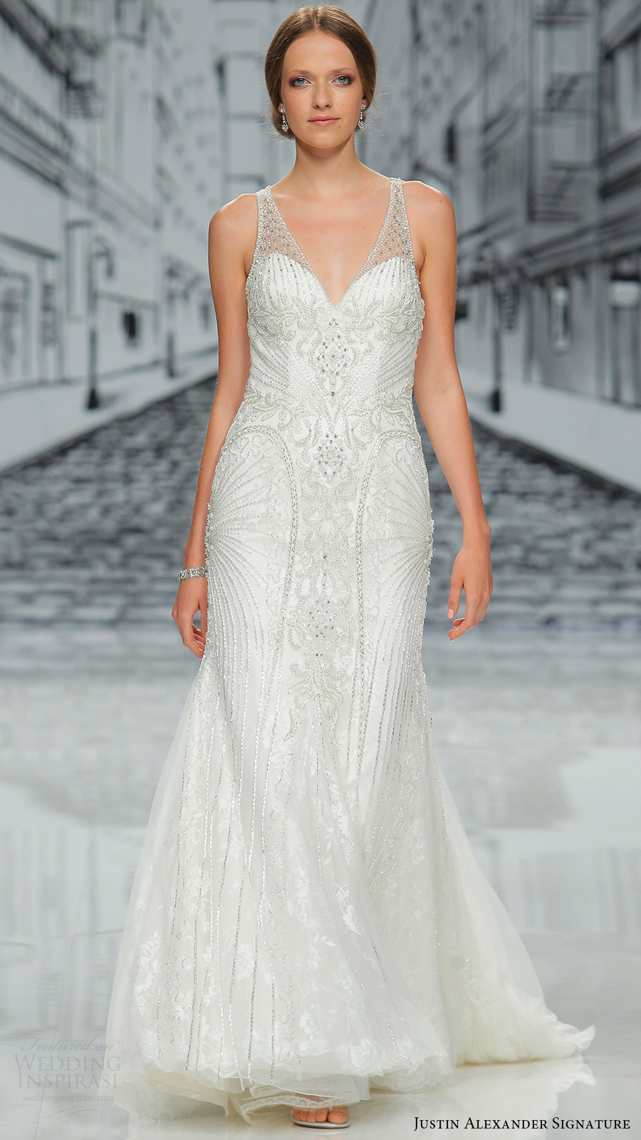 justin alexander signature spring 2017 sleeveless veneck fully beaded sheath wedding dress (9839) mv