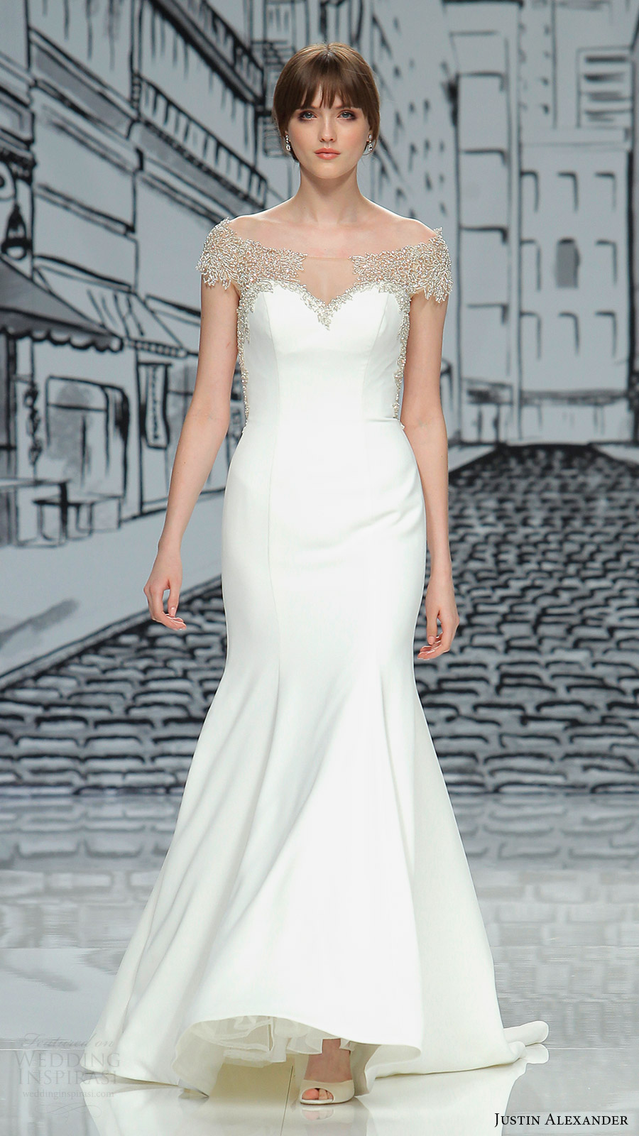 justin alexander spring 2017 beaded cap sleeves illusion off shoulder sweetheart mermaid wedding dress (8878) mv