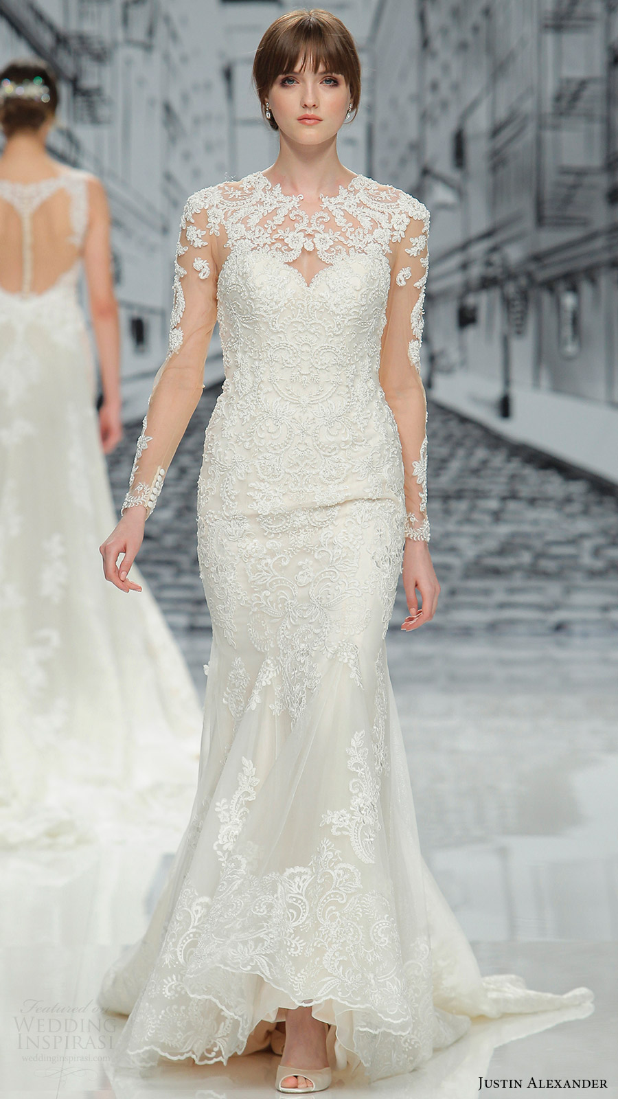 justin alexander spring 2017 illusion long sleeeves jewel neck lace trumpet wedding dress (8905) mv