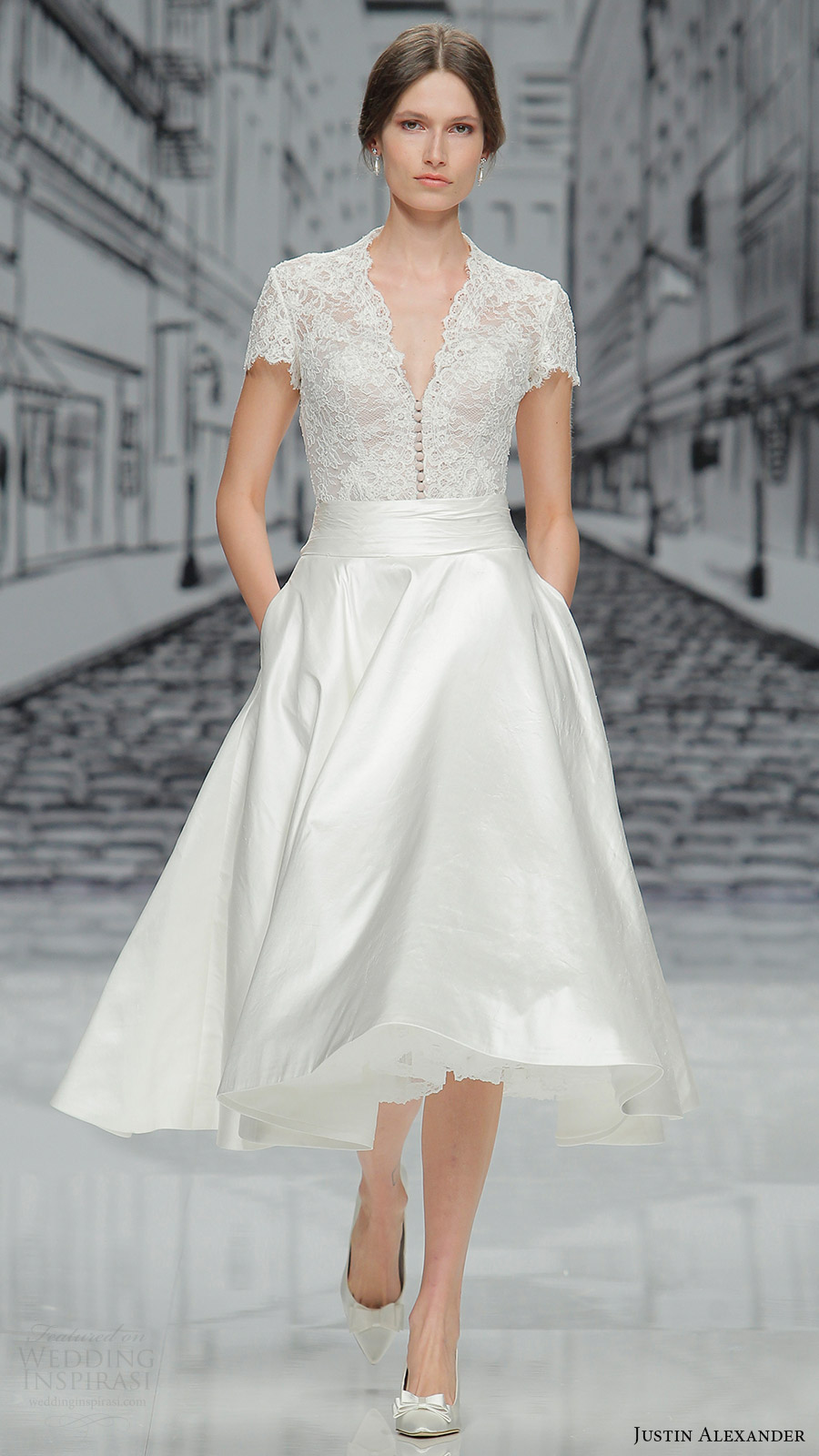 justin alexander spring 2017 short sleeves vneck lace bodice tea length skirt wedding dress (8881) mv