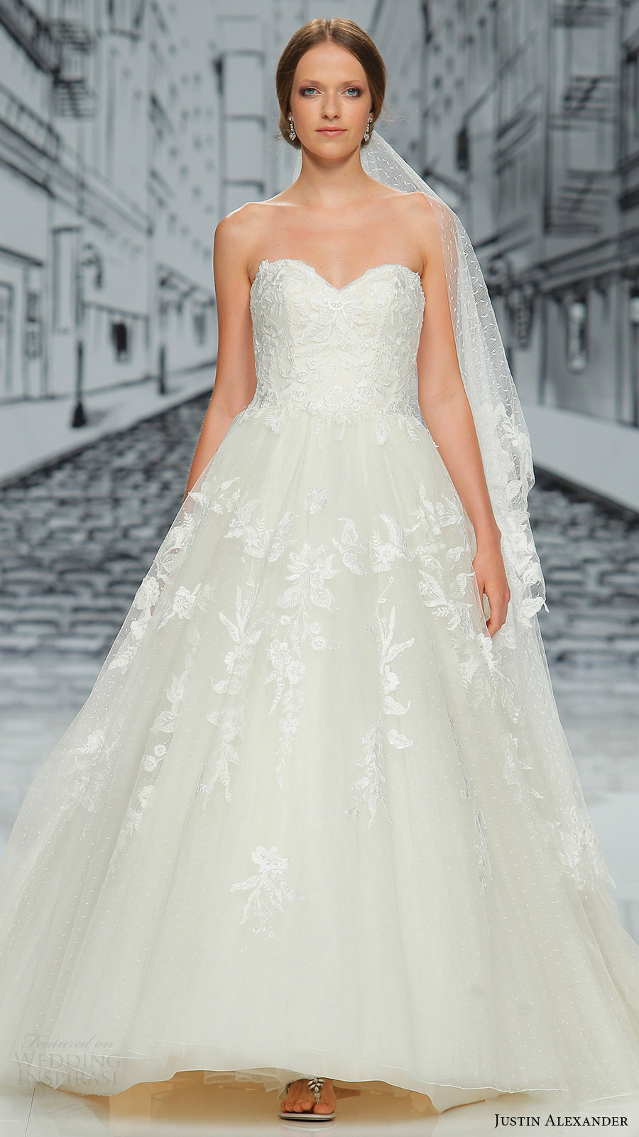 justin alexander spring 2017 strapless sweetheart ball gown wedding dress (8908) mv
