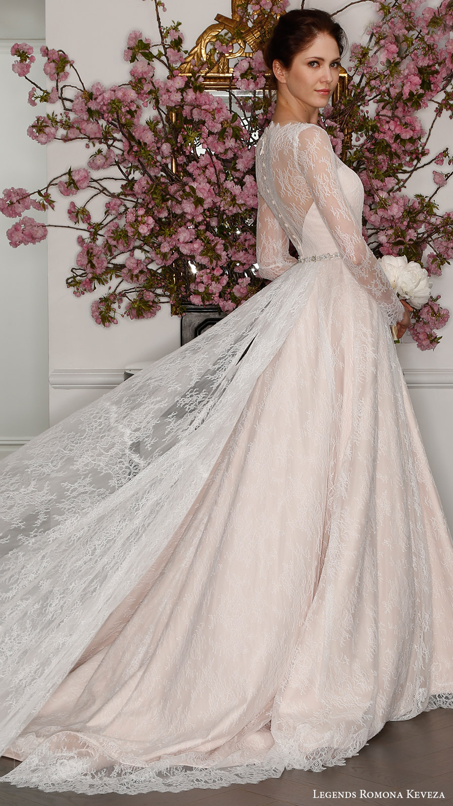 legends romona keveza bridal spring 2017 illusion long sleeve boat neck aline lace wedding dress (l7127) bv blush color train