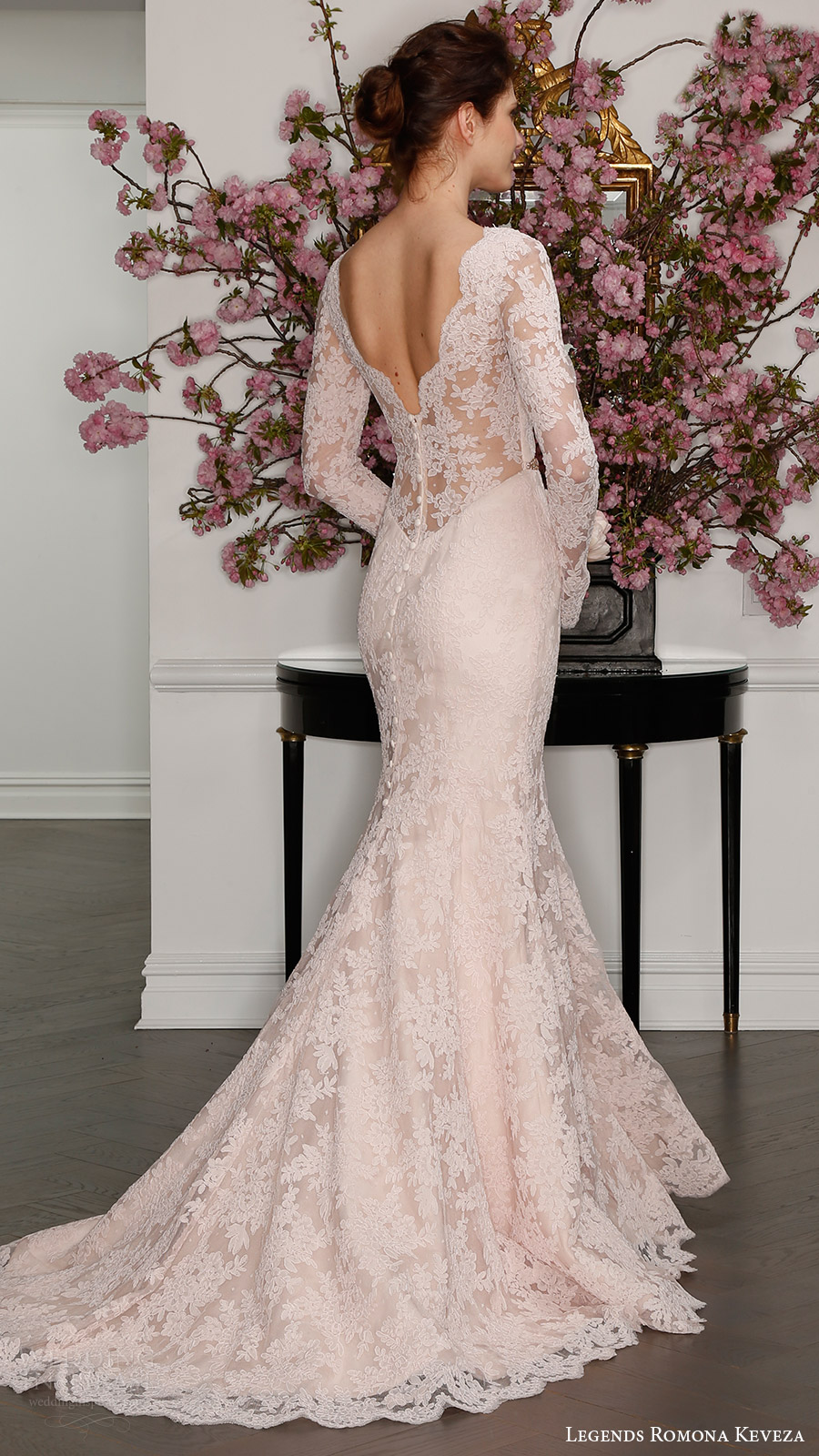 legends romona keveza bridal spring 2017 illusion long sleeves deep v lace trumpet wedding dress (l7126) bv blush color train