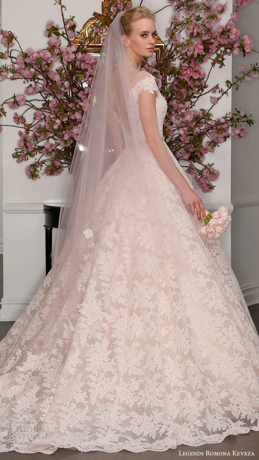 legends romona keveza bridal spring 2017 illusion off shoulder cap sleeves deep vneck lace ball gown (l7133) bv blush color low back