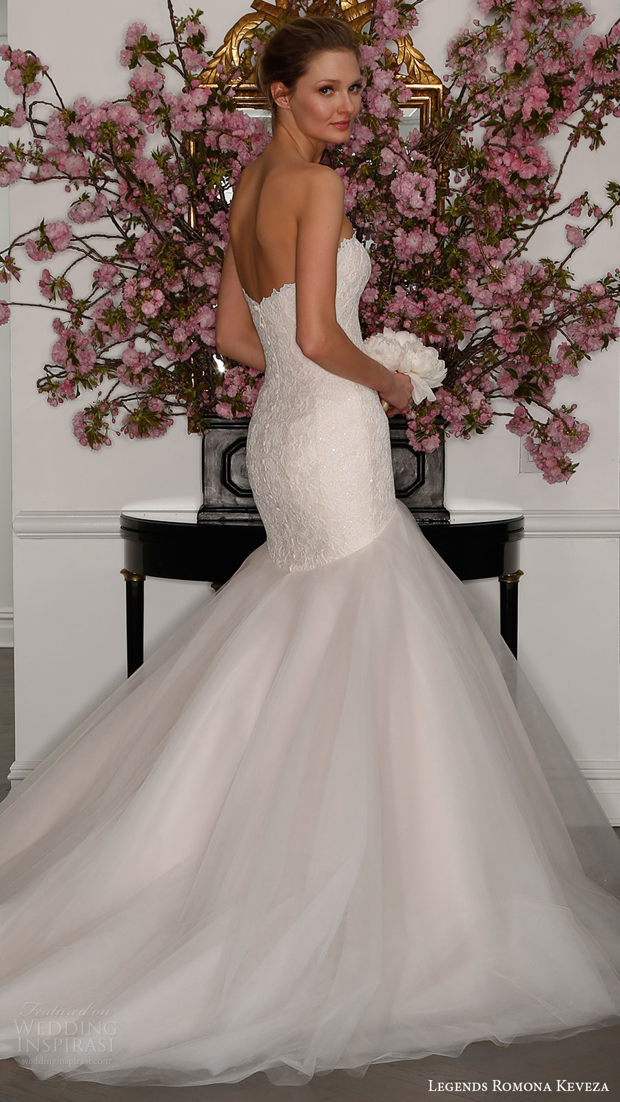 legends romona keveza bridal spring 2017 strapless sweetheart crystal lace mermaid wedding dress (l315) bv blush color