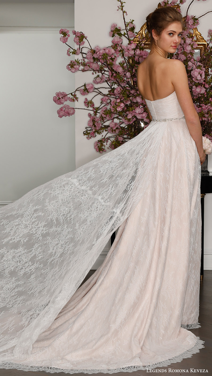 legends romona keveza bridal spring 2017 strapless sweetheart draped bodice lace aline wedding dress (l7128) mv blush color train