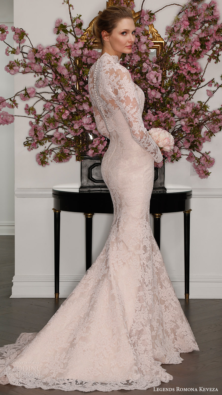 legends romona keveza bridal spring 2017 strapless sweetheart lace trumpet wedding dress (l7125) bv train blush color illusion long sleeve high neck blouse