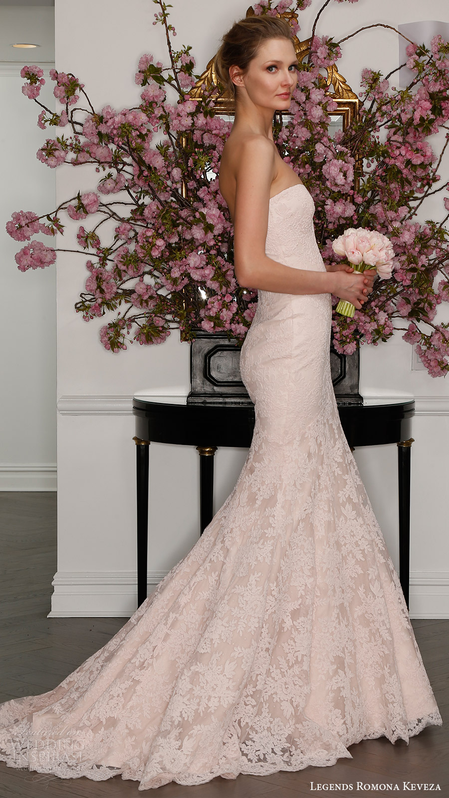 legends romona keveza bridal spring 2017 strapless sweetheart lace trumpet wedding dress (l7125) bv train blush color