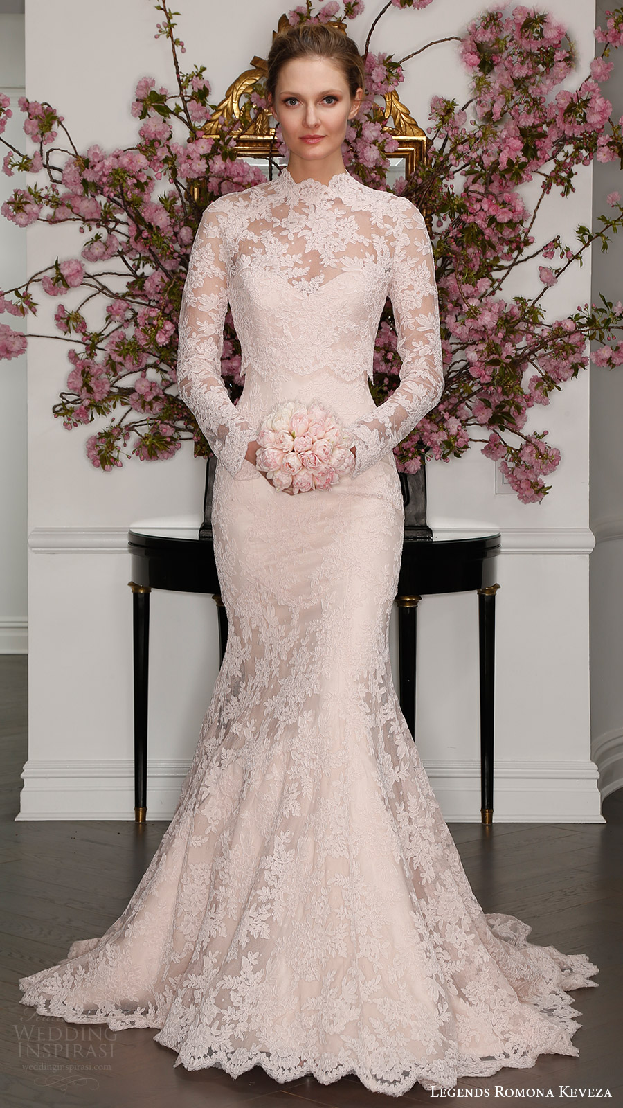 legends romona keveza bridal spring 2017 strapless sweetheart lace trumpet wedding dress (l7125) mv blush color illusion long sleeve high neck blouse