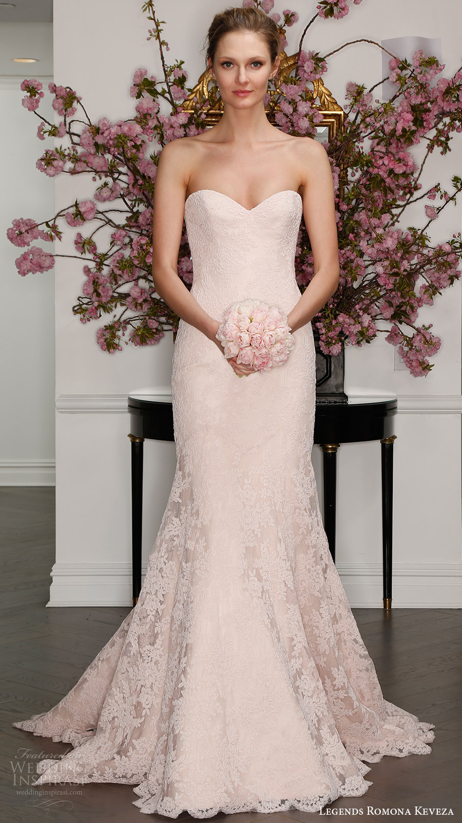legends romona keveza bridal spring 2017 strapless sweetheart lace trumpet wedding dress (l7125) mv blush color