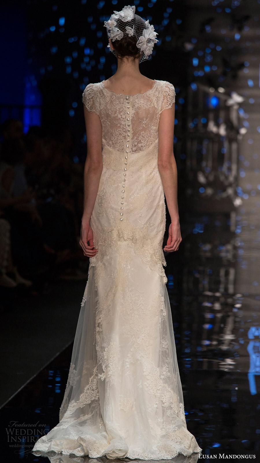 lusan mandongus bridal 2017 cap illusion jewel neck lace trumpet wedding dress (leo) bv illusion back train