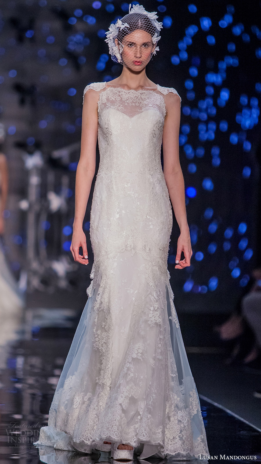 lusan mandongus bridal 2017 cap illusion jewel neck lace trumpet wedding dress (leo) mv