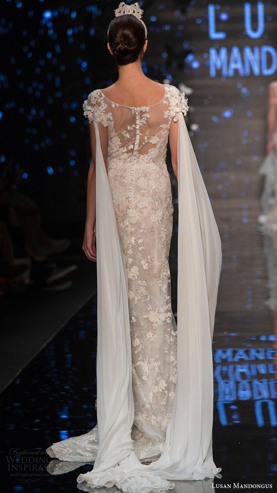 lusan mandongus bridal 2017 cap sleevess illusion boat neck lace sheath wedding dress (leonids) bv trail illusion back