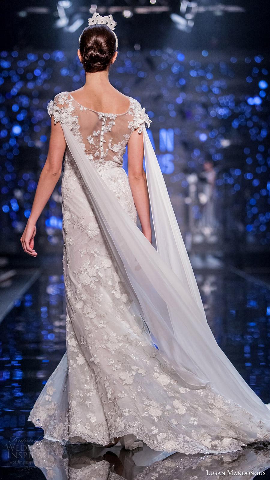 lusan mandongus bridal 2017 cap sleevess illusion boat neck lace sheath wedding dress (leonids) bv trail