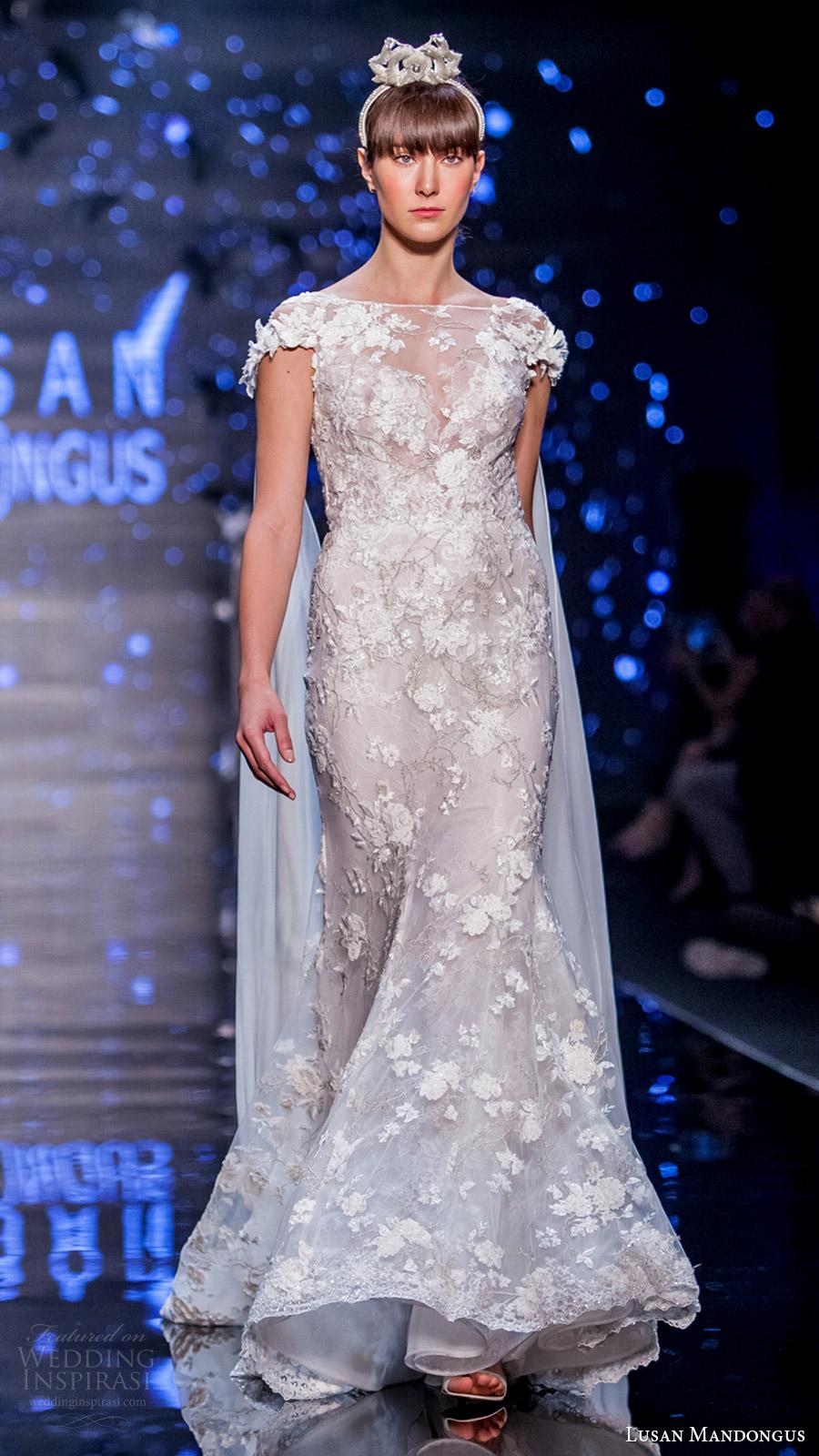 lusan mandongus bridal 2017 cap sleevess illusion boat neck lace sheath wedding dress (leonids) fv