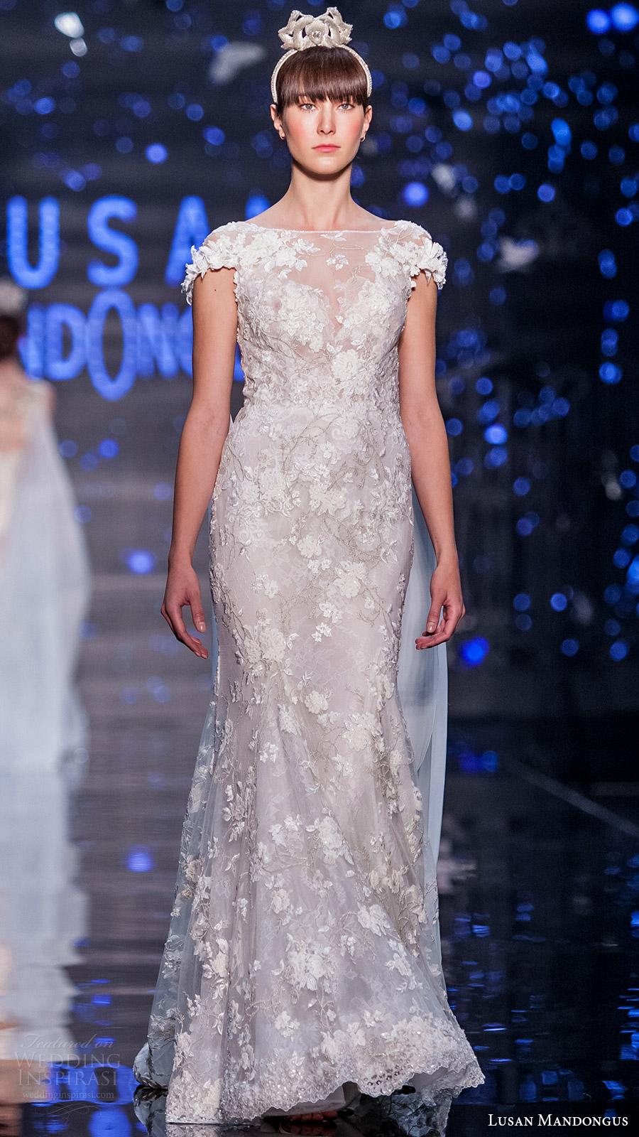 lusan mandongus bridal 2017 cap sleevess illusion boat neck lace sheath wedding dress (leonids) mv