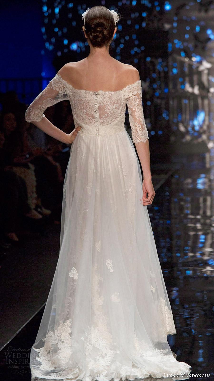lusan mandongus bridal 2017 off shoulder illusion long sleeves lace aline wedding dress (zeta) bv train