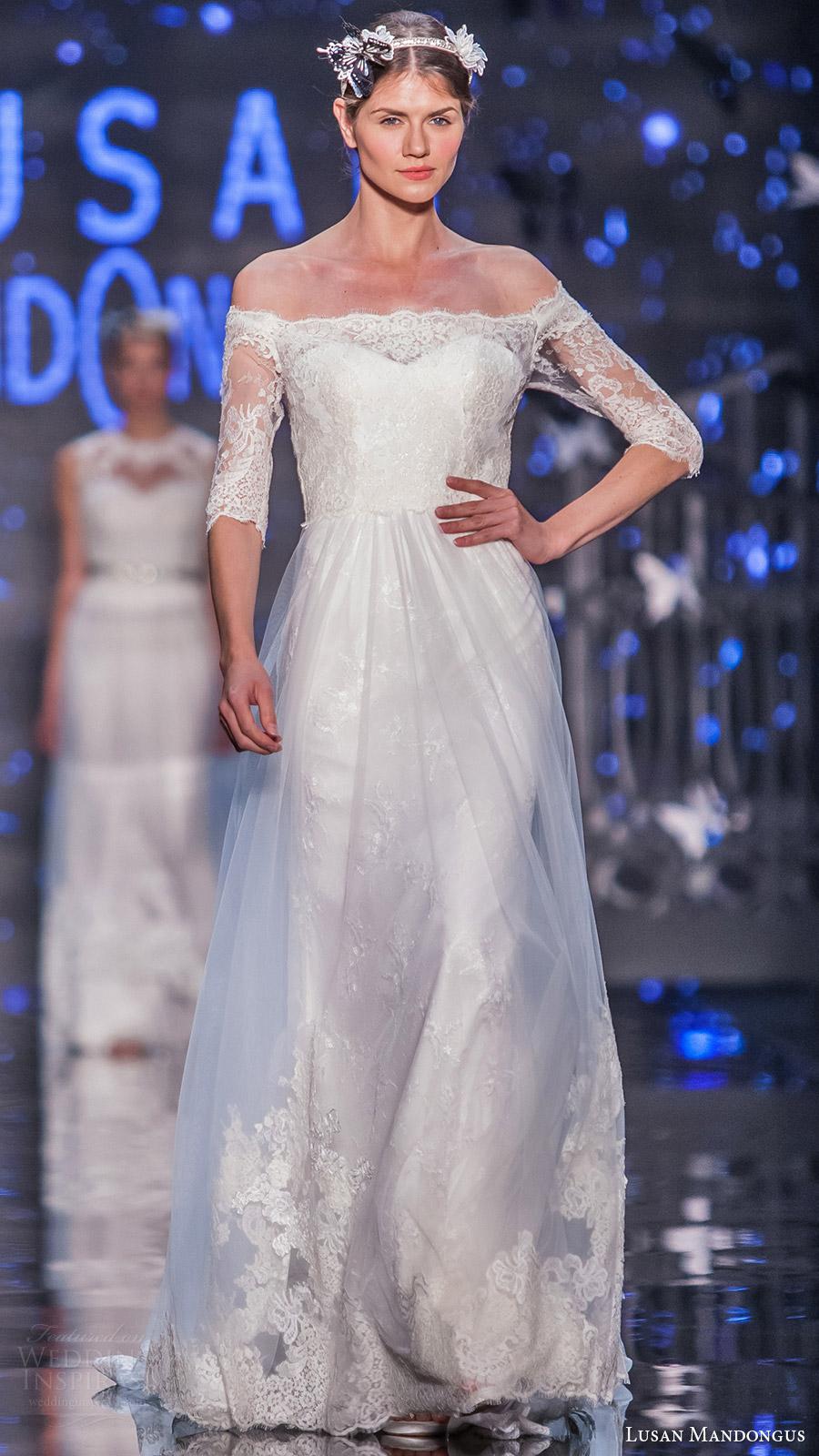 lusan mandongus bridal 2017 off shoulder illusion long sleeves lace aline wedding dress (zeta) mv