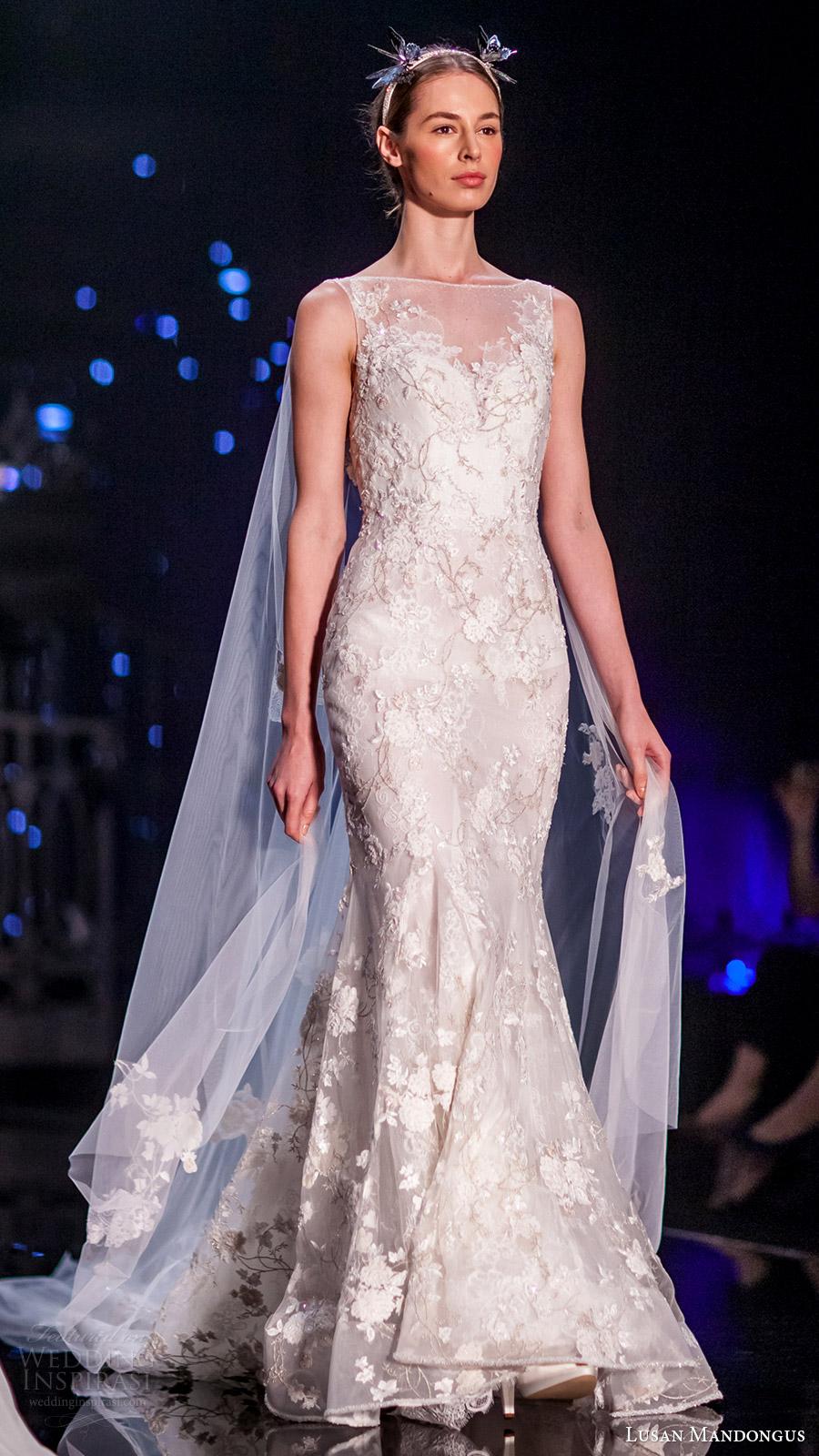 lusan mandongus bridal 2017 sleeveless bateau neck trumpet wedding dress (epsilon) sv cape train