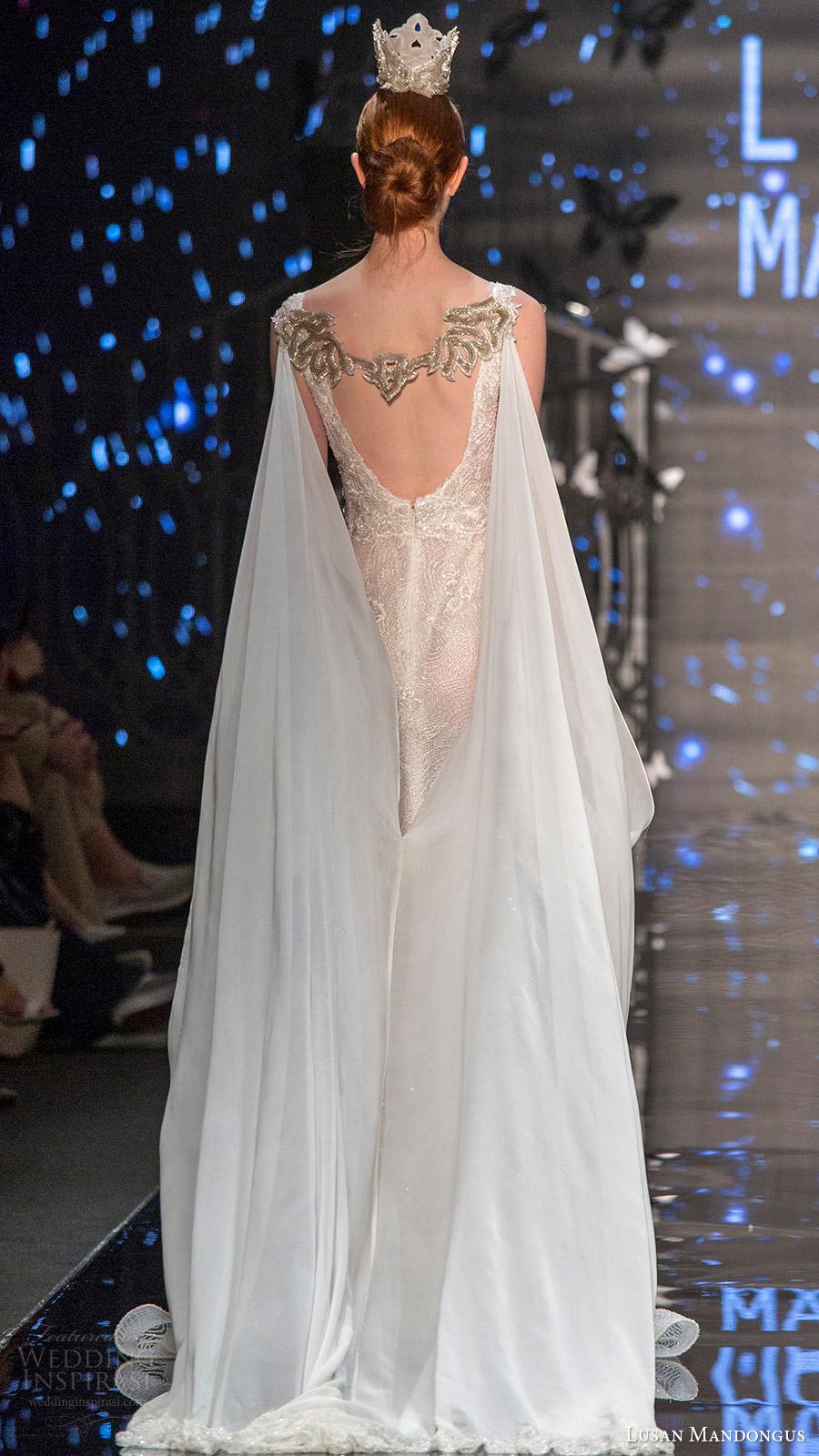 lusan mandongus bridal 2017 sleeveless scoop fully beaded trumpet wedding dress (theta) bv cape