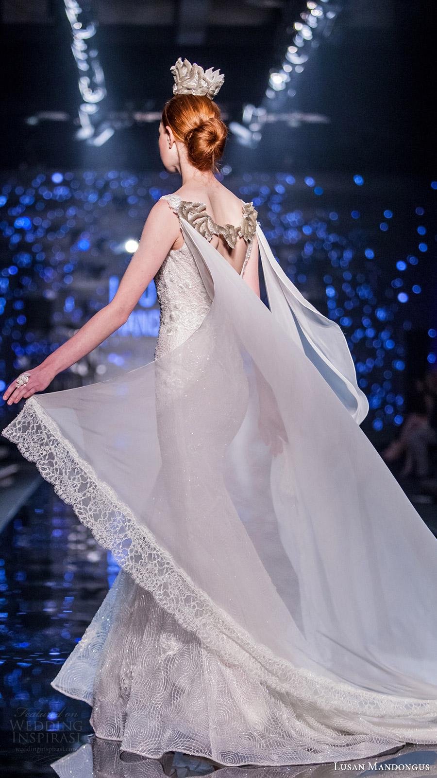 lusan mandongus bridal 2017 sleeveless scoop fully beaded trumpet wedding dress (theta) sbv cape