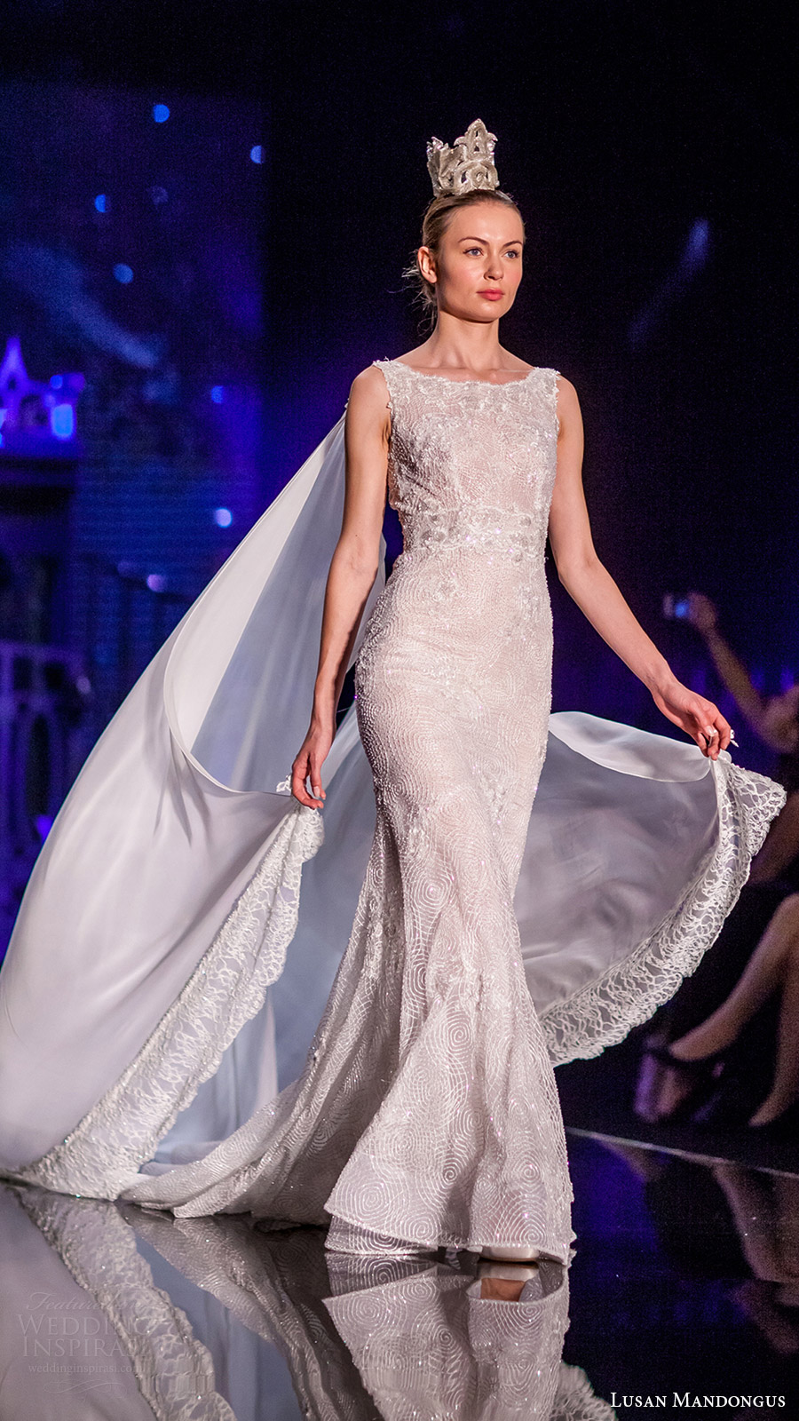 lusan mandongus bridal 2017 sleeveless scoop fully beaded trumpet wedding dress (theta) sv cape