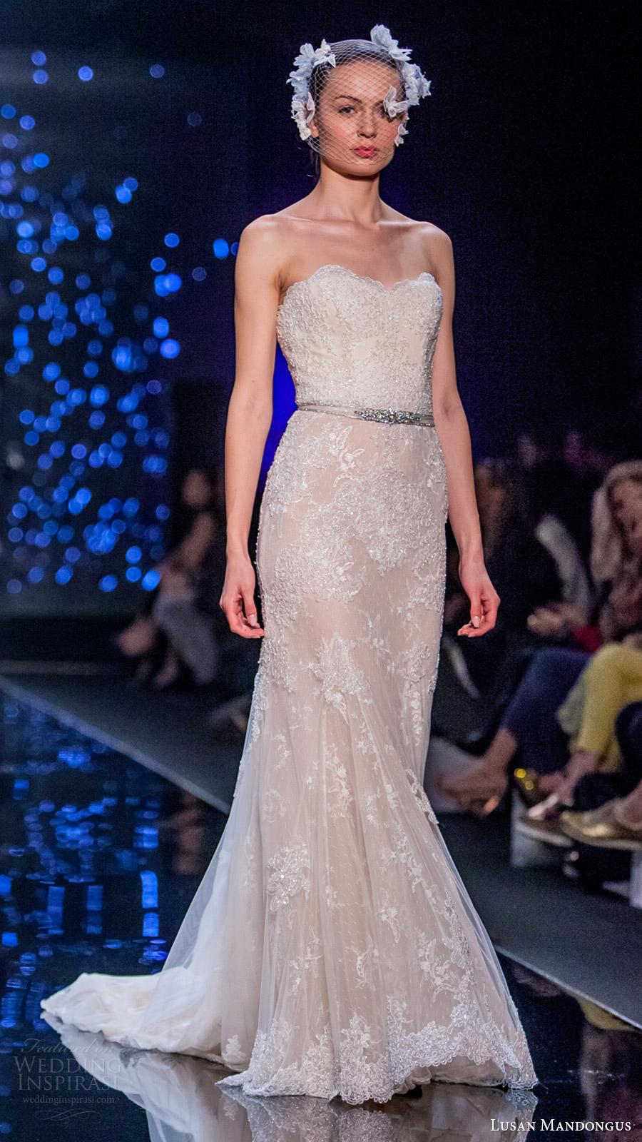 lusan mandongus bridal 2017 strapless sweetheart beaded lace sheath wedding dress (omega) mv