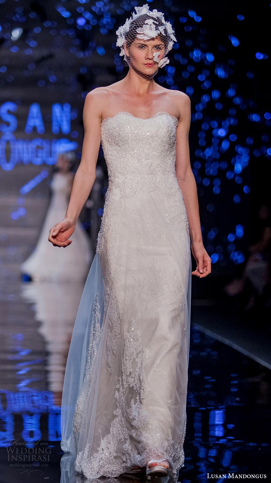 lusan mandongus bridal 2017 strapless sweetheart beaded sheath wedding dress (lyrids) mv