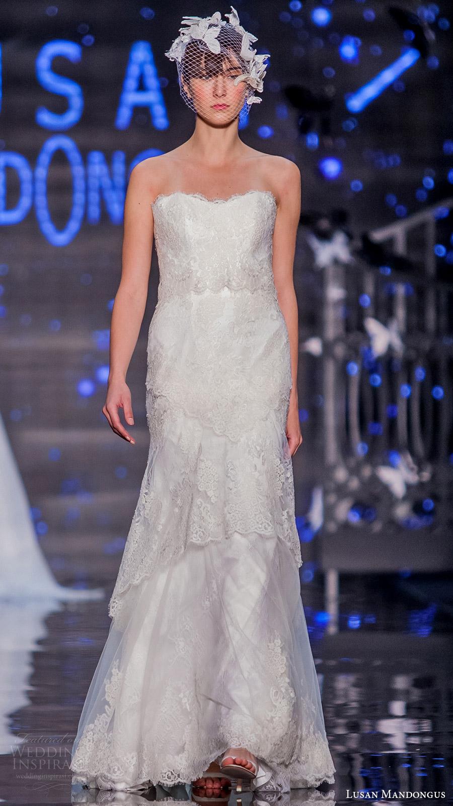 lusan mandongus bridal 2017 strapless sweetheart lace sheath wedding dress (delta) mv