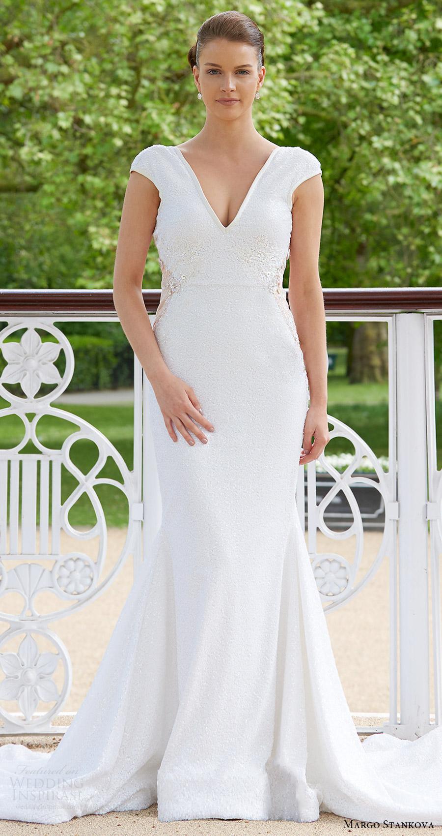 margo stankova bridal 2017 cap sleeve vneck trumpet wedding dress (01) mv