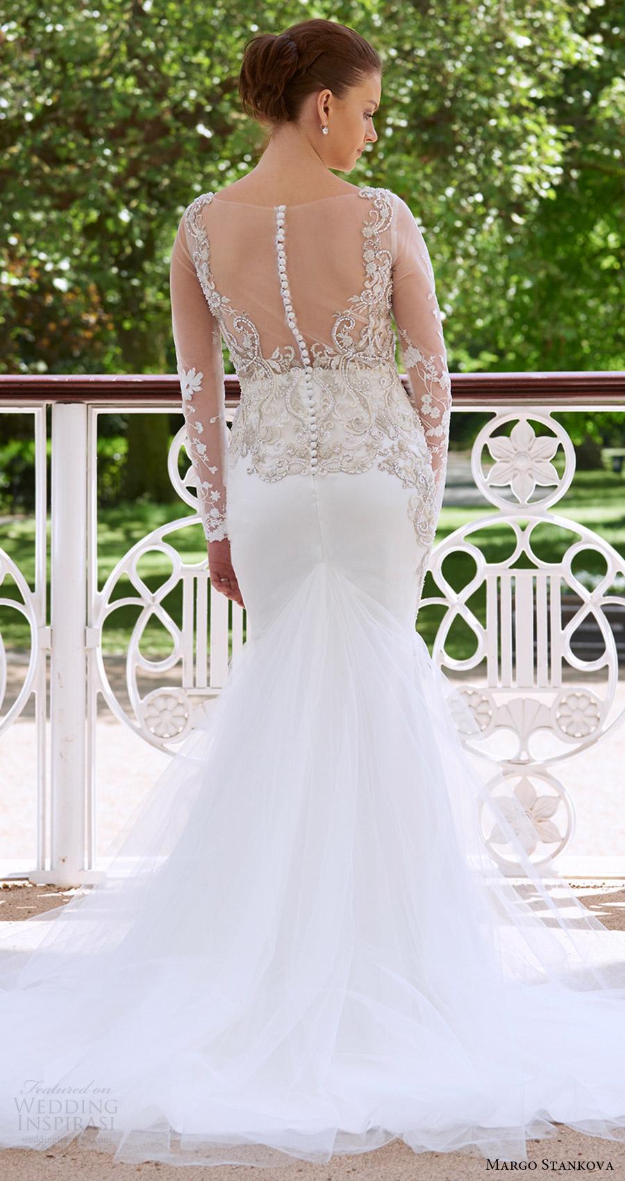 margo stankova bridal 2017 illusion long sleeves beaded bodice trumpet wedding dress (02) bv illusion back train