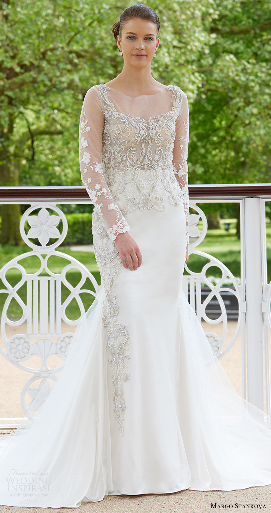 margo stankova bridal 2017 illusion long sleeves beaded bodice trumpet wedding dress (02) mv