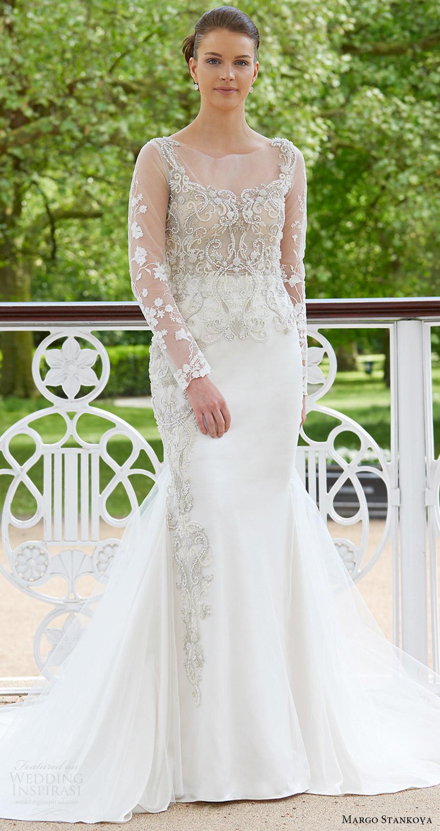 margo stankova bridal 2017 illusion long sleeves beaded bodice trumpet wedding dress (02) mv