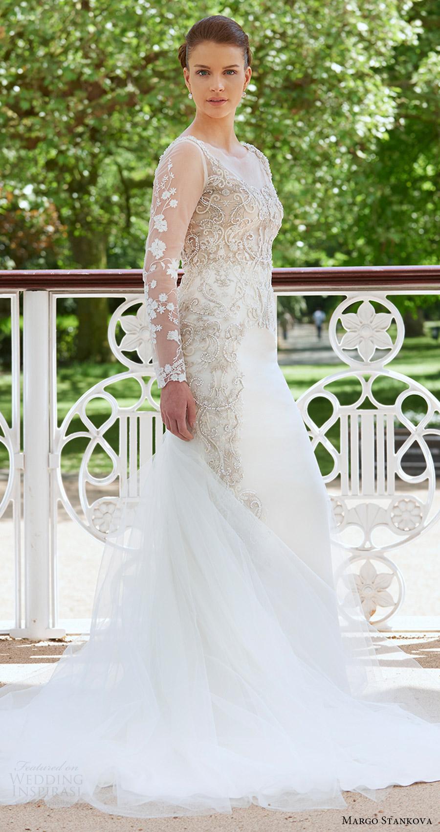 margo stankova bridal 2017 illusion long sleeves beaded bodice trumpet wedding dress (02) sv