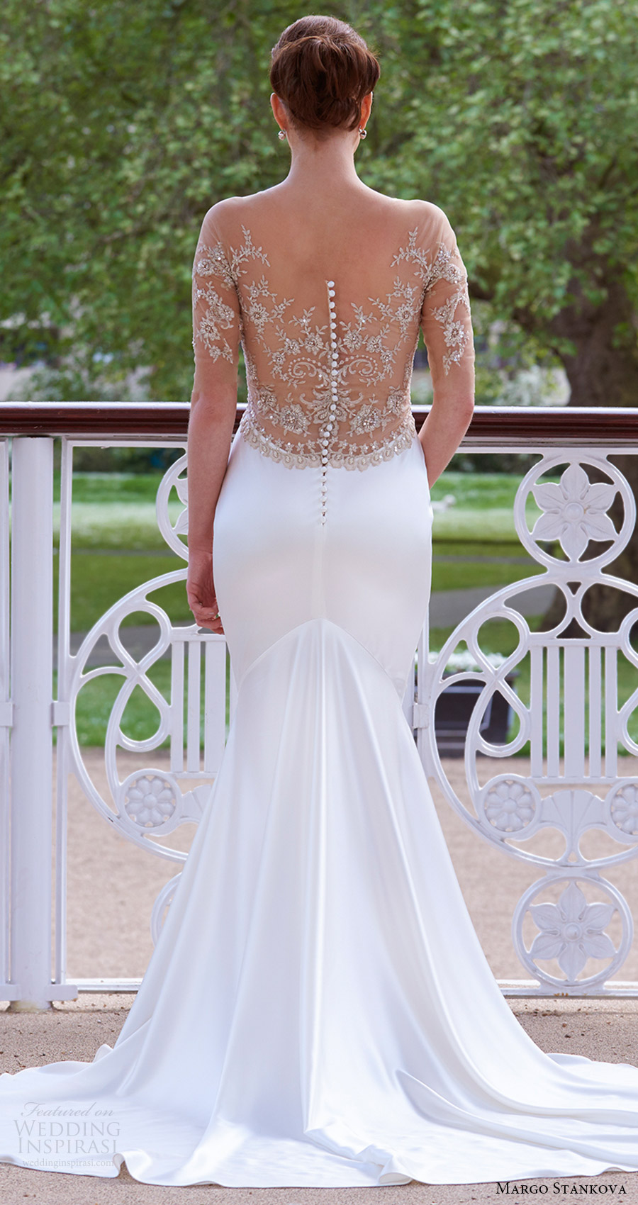 margo stankova bridal 2017 illusion long sleeves vneck beaded bodice sheath wedding dress (03) bv illusion back train