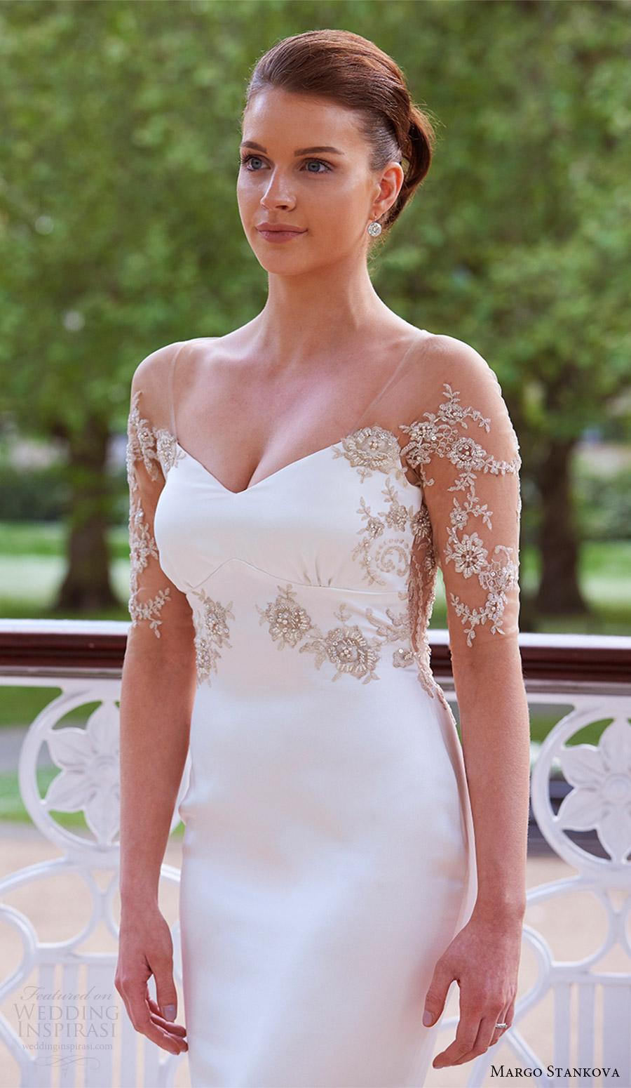 margo stankova bridal 2017 illusion long sleeves vneck beaded bodice sheath wedding dress (03) fv