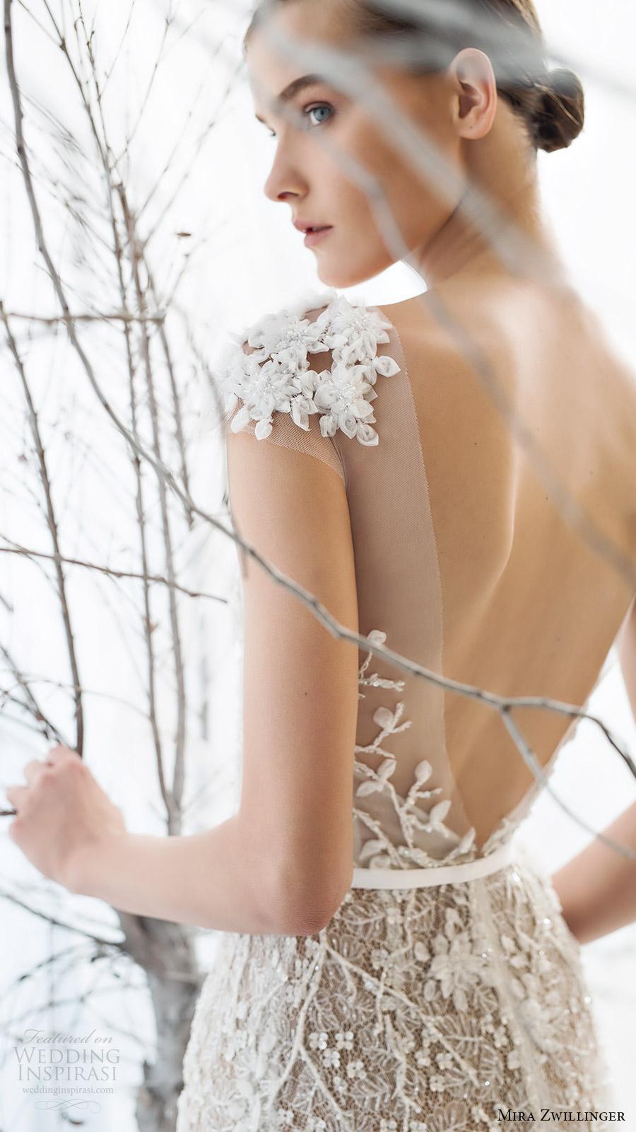 mira zwillinger bridal 2017 cap sleeves sweetheart illusion jewel neck beaded sheath wedding dress (lily) zbv vback