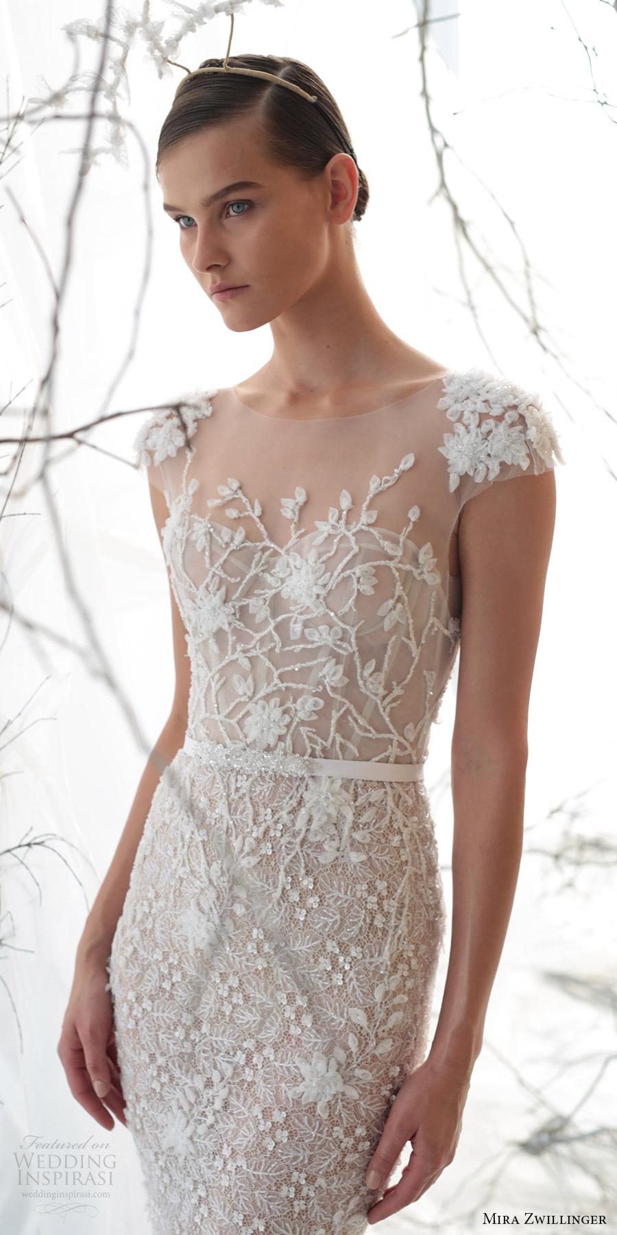 mira zwillinger bridal 2017 cap sleeves sweetheart illusion jewel neck beaded sheath wedding dress (lily) zv
