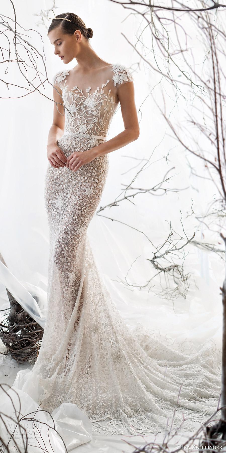 mira zwillinger bridal 2017 cap sleeves sweetheart illusion jewel neck sheath wedding dress (lily) mv train