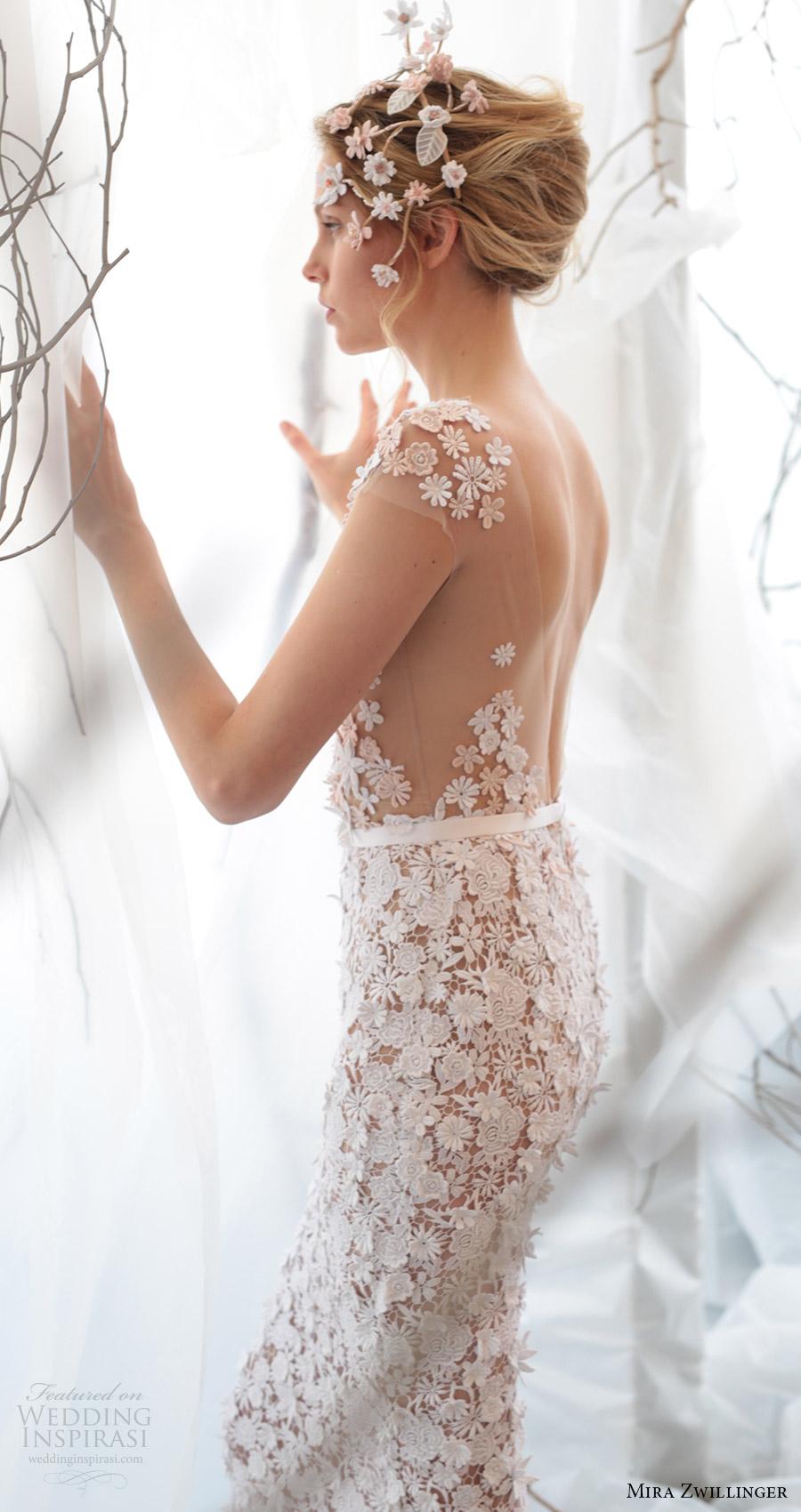 mira zwillinger bridal 2017 cap sleeves vneck guipure lace sheath wedding dress (noelle) zbv low back train