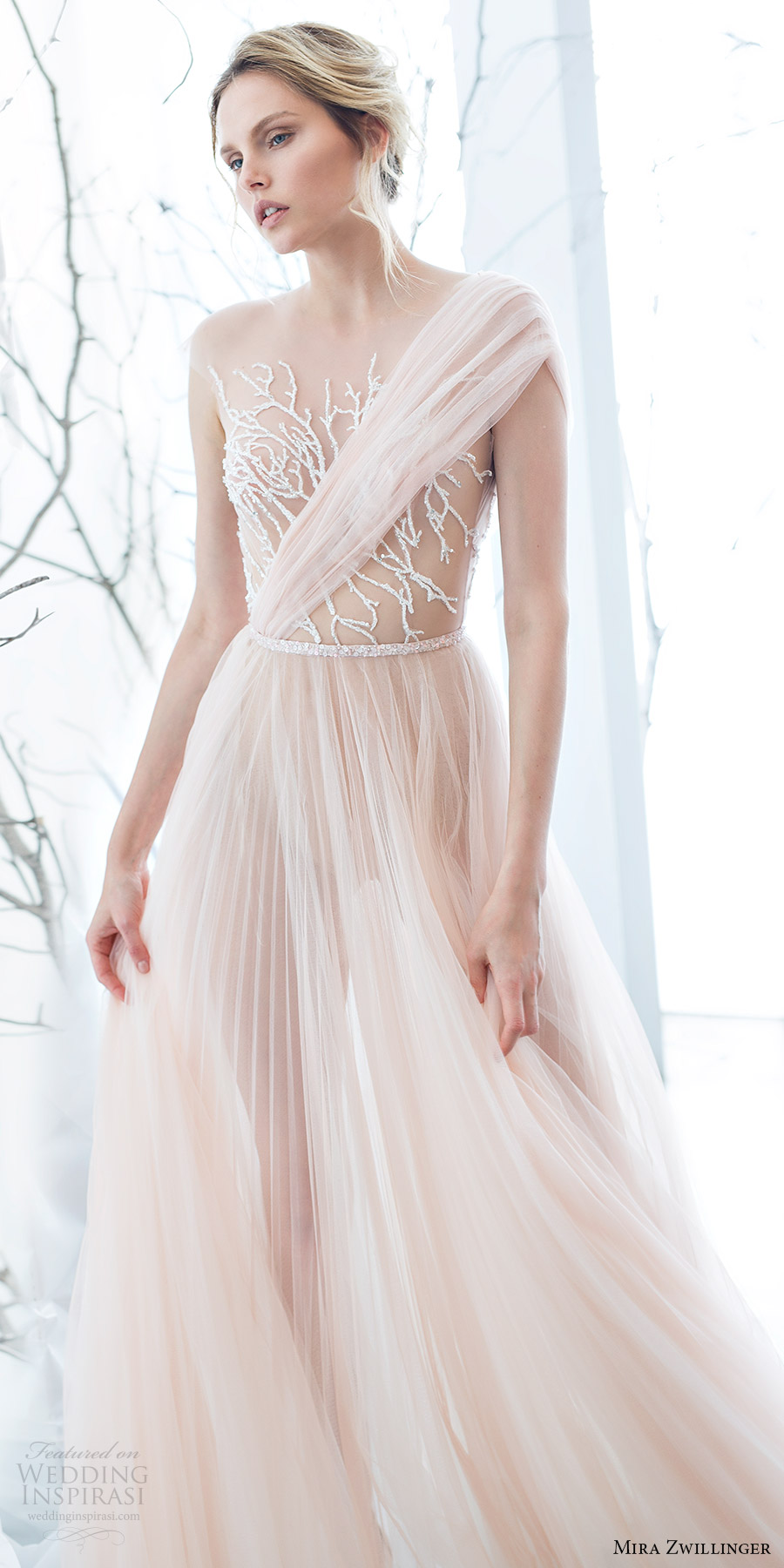 mira zwillinger bridal 2017 illusion cap sleeves illusion bodice aline wedding dress (mimosa) mv