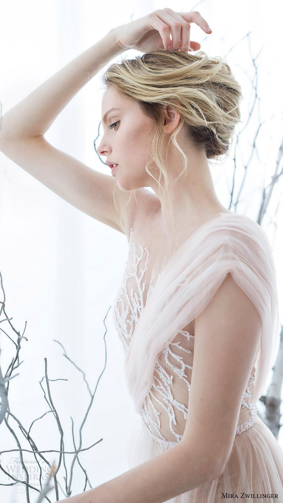 mira zwillinger bridal 2017 illusion cap sleeves illusion bodice aline wedding dress (mimosa) zsv