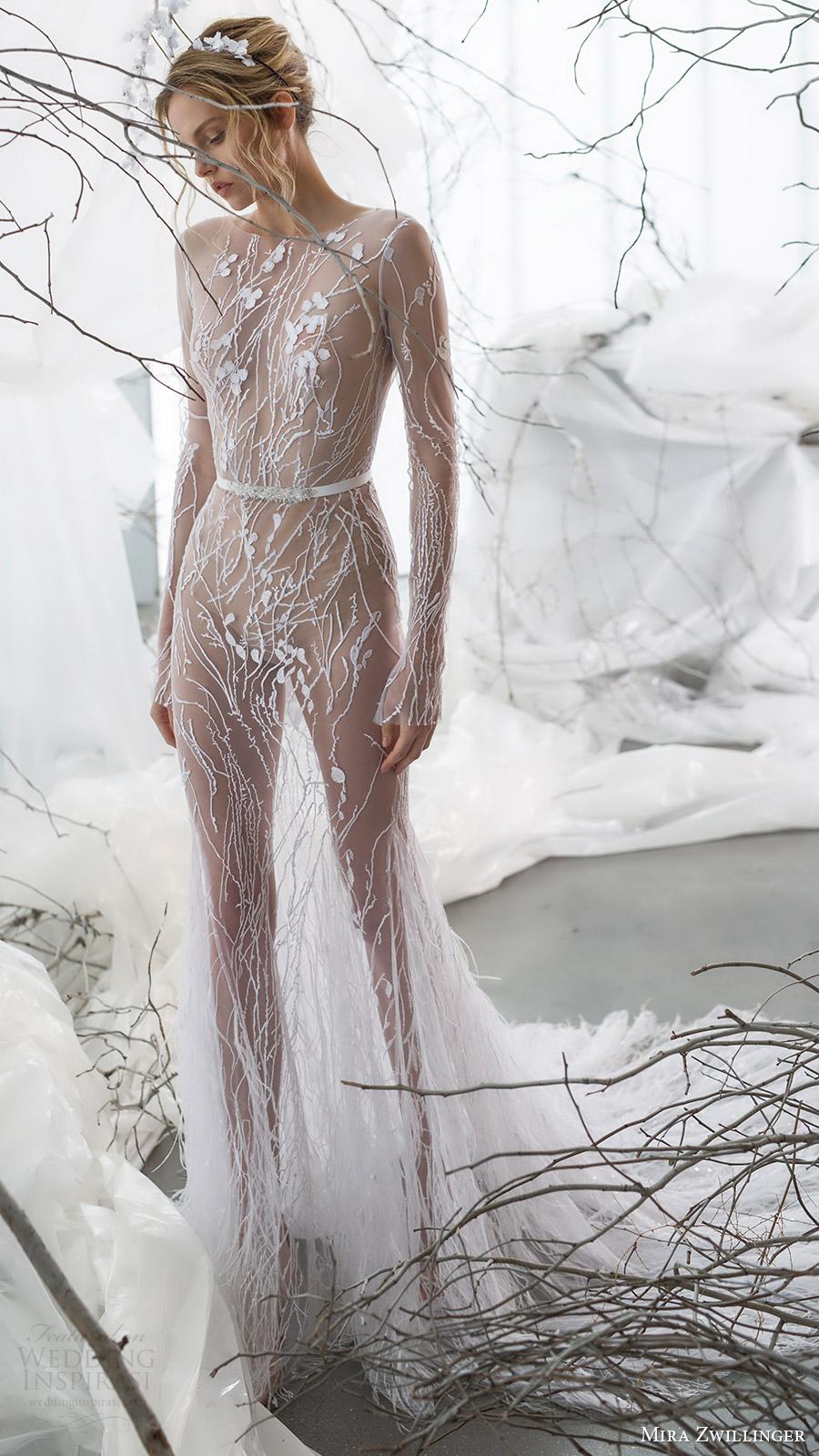 mira zwillinger bridal 2017 long sleeves jewel neck illusion bodice trumpet wedding dress (willow) mv train